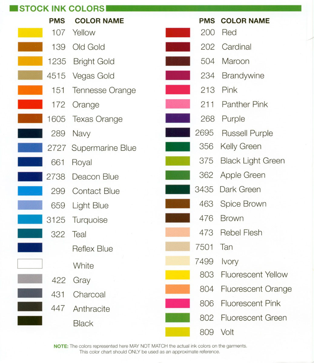 Hanes Pms Color Chart